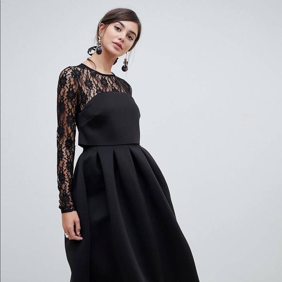 4a14924cc5 ASOS Dresses & Skirts - ASOS Tall Lace Long Sleeve Black Scuba Prom Dress
